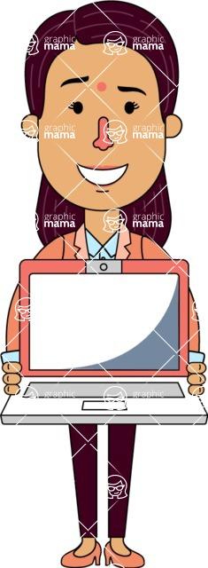 Flat Indian Girl Vector Character Design AKA Anika Hardworking - Laptop 3