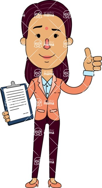 Flat Indian Girl Vector Character Design AKA Anika Hardworking - Notepad 1