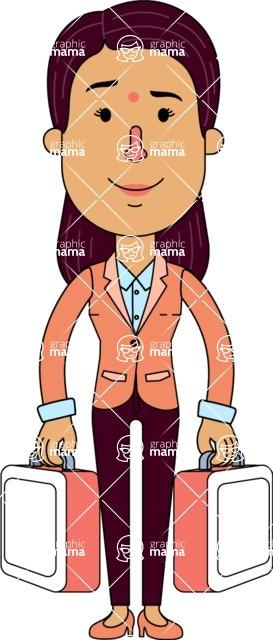 Flat Indian Girl Vector Character Design AKA Anika Hardworking - Brifcase 3