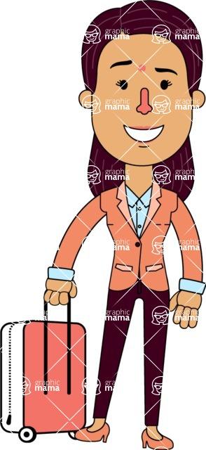 Flat Indian Girl Vector Character Design AKA Anika Hardworking - Travel 1