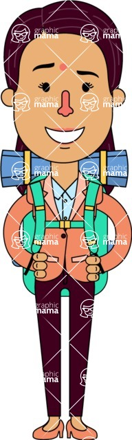 Flat Indian Girl Vector Character Design AKA Anika Hardworking - Travel 2