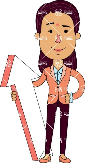 Flat Indian Girl Vector Character Design AKA Anika Hardworking - Pointer 1