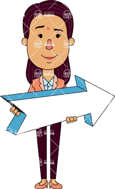 Flat Indian Girl Vector Character Design AKA Anika Hardworking - Pointer 2