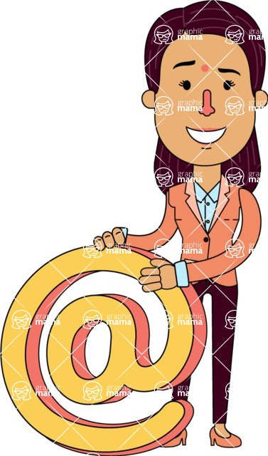 Flat Indian Girl Vector Character Design AKA Anika Hardworking - Email