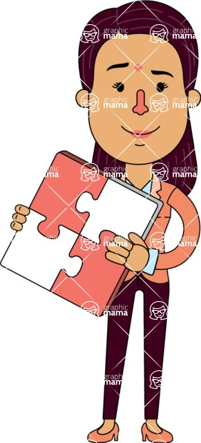 Flat Indian Girl Vector Character Design AKA Anika Hardworking - Puzzle