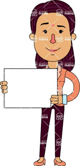 Flat Indian Girl Vector Character Design AKA Anika Hardworking - Sign 3