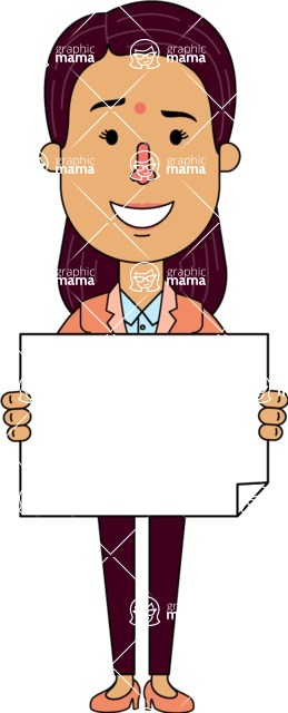 Flat Indian Girl Vector Character Design AKA Anika Hardworking - Sign 4