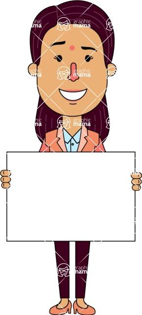 Flat Indian Girl Vector Character Design AKA Anika Hardworking - Sign 5