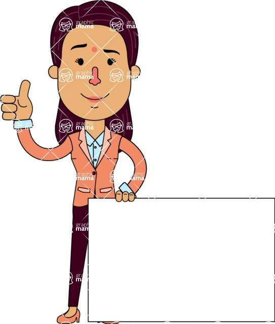 Flat Indian Girl Vector Character Design AKA Anika Hardworking - Sign 7