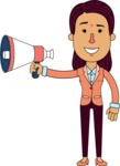 Flat Indian Girl Vector Character Design AKA Anika Hardworking - Loudspeaker