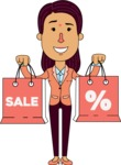 Flat Indian Girl Vector Character Design AKA Anika Hardworking - Sale2