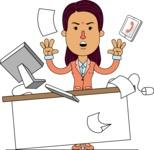 Flat Indian Girl Vector Character Design AKA Anika Hardworking - Office Fever