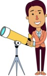 Flat Indian Girl Vector Character Design AKA Anika Hardworking - Telescope