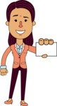 Flat Indian Girl Vector Character Design AKA Anika Hardworking - Sign 1