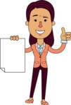 Flat Indian Girl Vector Character Design AKA Anika Hardworking - Sign 2