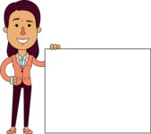 Flat Indian Girl Vector Character Design AKA Anika Hardworking - Sign 8