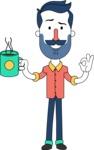 Minimalistic Man Vector Character Design AKA Justin - Coffee
