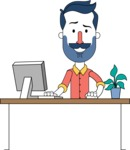Minimalistic Man Vector Character Design AKA Justin - Laptop 1