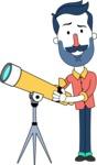 Minimalistic Man Vector Character Design AKA Justin - Telescope