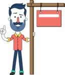 Minimalistic Man Vector Character Design AKA Justin - Sign 9