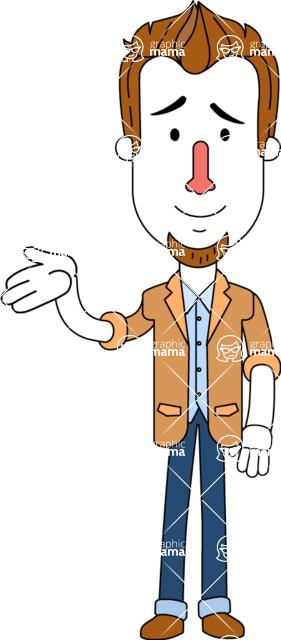 Minimalist Businessman Vector Character Design - Sorry