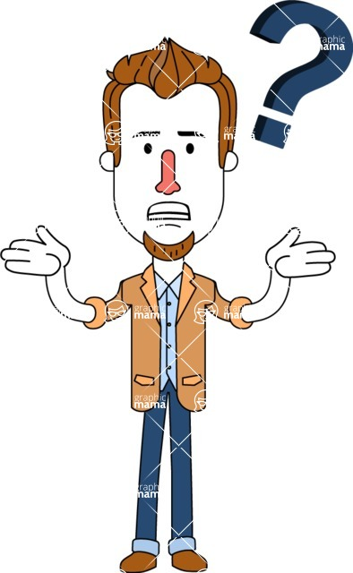 Minimalist Businessman Vector Character Design - Confused