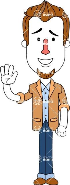 Minimalist Businessman Vector Character Design - Hello
