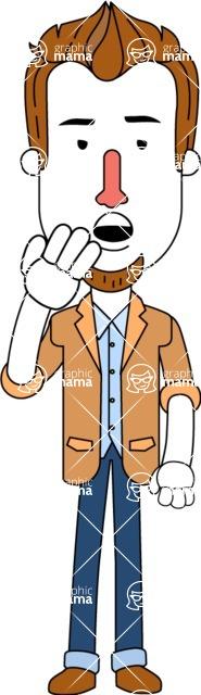 Minimalist Businessman Vector Character Design - Bored
