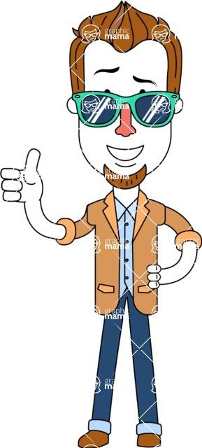 Minimalist Businessman Vector Character Design - Sunglasses