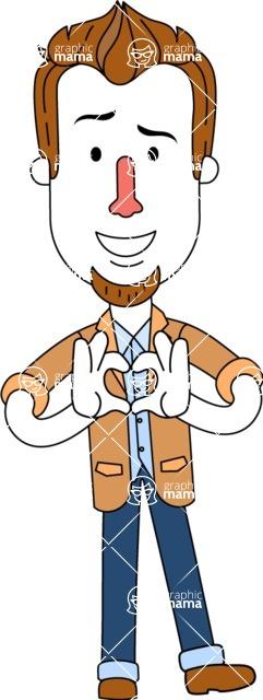 Minimalist Businessman Vector Character Design AKA Ian Goatee - Show Love