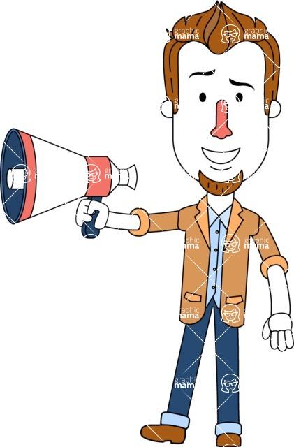 Minimalist Businessman Vector Character Design AKA Ian Goatee - Loudspeaker
