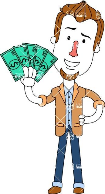 Minimalist Businessman Vector Character Design AKA Ian Goatee - Show me the Money