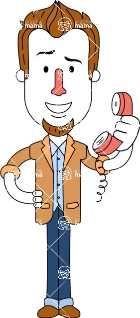 Minimalist Businessman Vector Character Design - Support