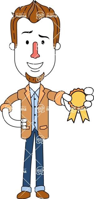 Minimalist Businessman Vector Character Design AKA Ian Goatee - Ribbon