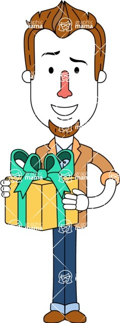 Minimalist Businessman Vector Character Design - Gift