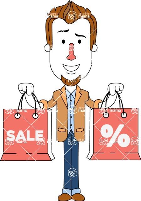 Minimalist Businessman Vector Character Design AKA Ian Goatee - Sale2