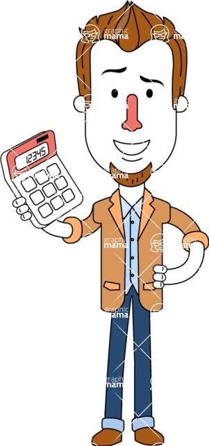 Minimalist Businessman Vector Character Design AKA Ian Goatee - Calculator