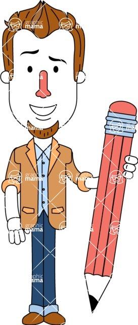 Minimalist Businessman Vector Character Design AKA Ian Goatee - Pencil