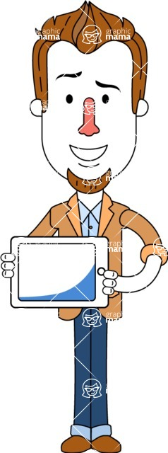 Minimalist Businessman Vector Character Design - iPad 2