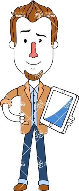 Minimalist Businessman Vector Character Design AKA Ian Goatee - iPad3