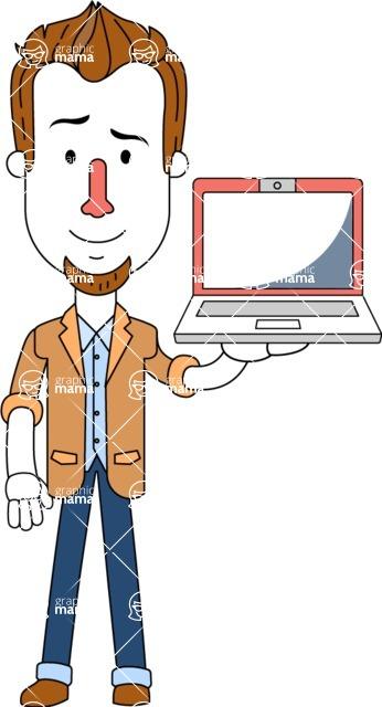 Minimalist Businessman Vector Character Design - Laptop 2