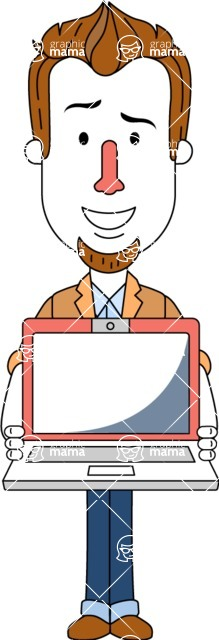 Minimalist Businessman Vector Character Design - Laptop 3