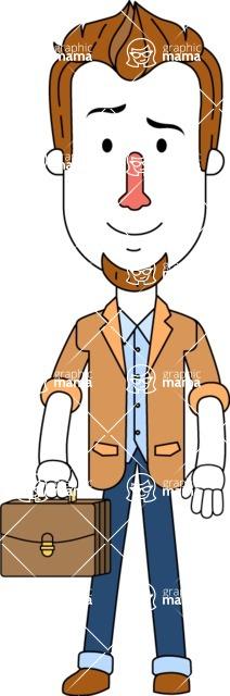 Minimalist Businessman Vector Character Design - Brifcase 1