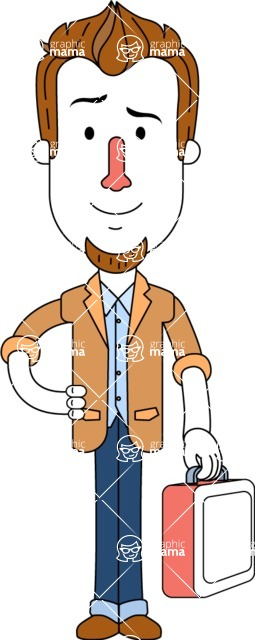 Minimalist Businessman Vector Character Design AKA Ian Goatee - Brifcase 2