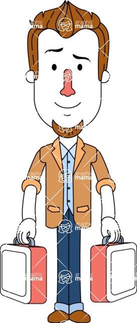 Minimalist Businessman Vector Character Design - Brifcase 3