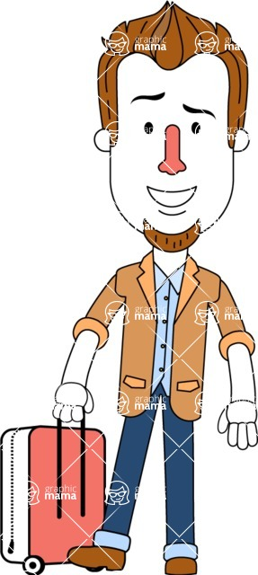 Minimalist Businessman Vector Character Design AKA Ian Goatee - Travel 1