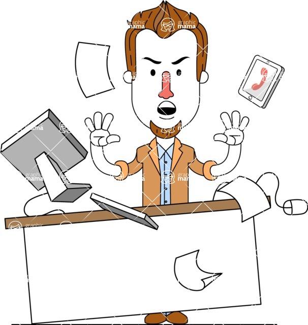 Minimalist Businessman Vector Character Design AKA Ian Goatee - Office Fever