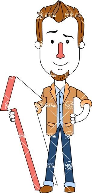 Minimalist Businessman Vector Character Design AKA Ian Goatee - Pointer 1