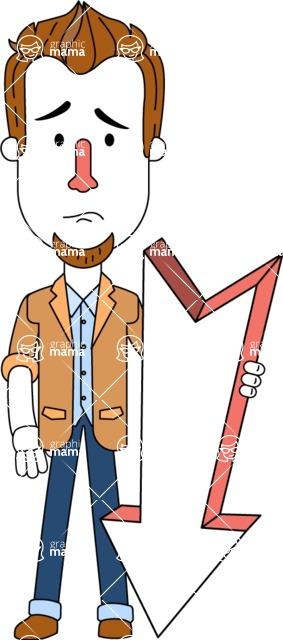 Minimalist Businessman Vector Character Design AKA Ian Goatee - Pointer 3