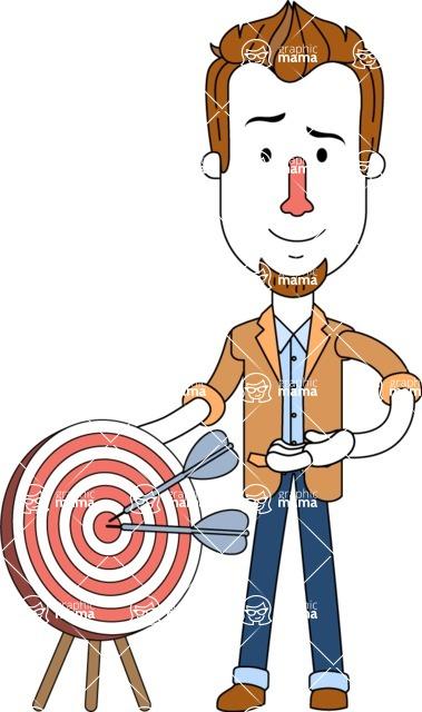 Minimalist Businessman Vector Character Design - Target